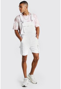 White Denim Cargo Short Dungarees With Zip Pocket