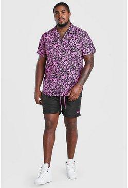 Pink Big And Tall Leopard Print Hi-Lo Set