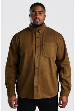 Tobacco Big And Tall Loose Fit Cotton Overshirt