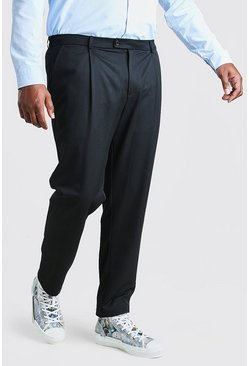 Black Big And Tall Skinny Trouser With Pleat