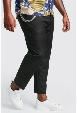 Black Big And Tall Skinny Cropped Pants With Chain