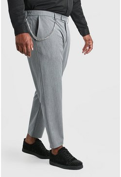 Grey Big And Tall Skinny Cropped Trouser With Chain