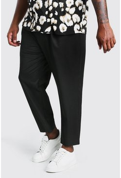 Black Big And Tall Tapered Cropped Pants With Pleat