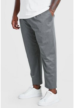 Charcoal Big And Tall Tapered Cropped Trouser
