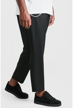 Black Plus Size Tapered Cropped Trouser With Chain