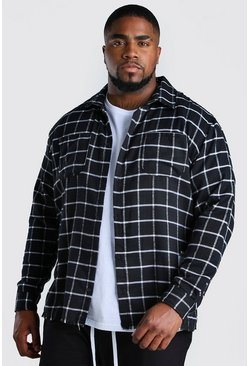 Black Big and Tall Check Shirt With Back Print