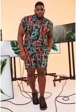 Black Big And Tall Chain Print Shirt And Short Set