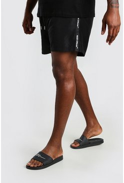 Big And Tall MAN Official Badeshorts mit Streifen, Schwarz