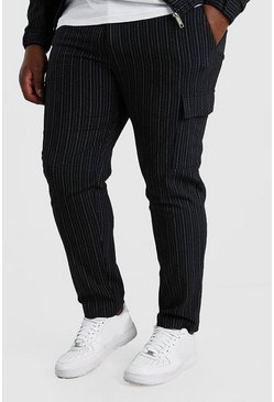 Navy Big And Tall Skinny Pinstripe Cargo Pants