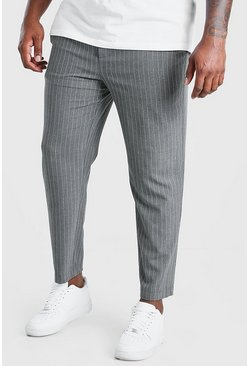 Charcoal Big And Tall Skinny Pinstripe Woven Jogger