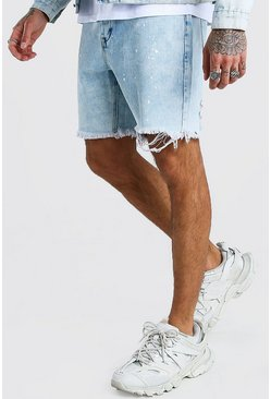 Blue Slim Fit Acid Wash Denim Short With Paint Splatter