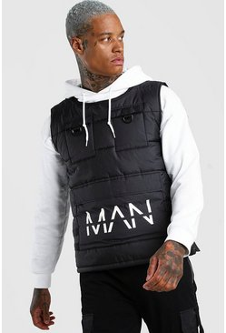 Black Man Dash Quilted Utility Singlet With Front Pockets