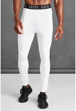 White MAN Active Compression Tights
