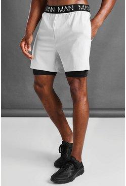 Grey MAN Active 2 In 1 Shorts