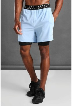 Light blue MAN Active 2 In 1 Shorts