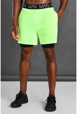 Neon-yellow MAN Active 2 In 1 Shorts