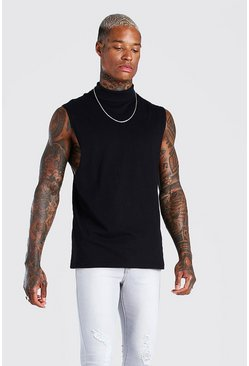 Black Roll Neck Drop Armhole Tank