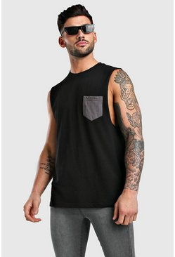 Black Drop Armhole Tank With Contrast Pocket