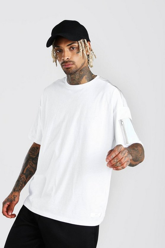 White Oversized MAN Branded Reflective Arm Pocket T-Shirt