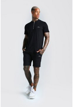 Black MAN Signature Zip Polo And Short Set