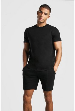Ensemble t-shirt et short à fines rayures signature MAN, Noir