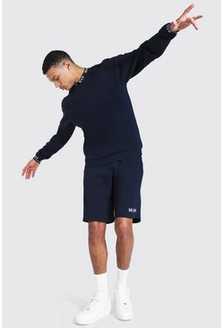 Tall Short Sweater Tracksuit With Man Rib, Navy