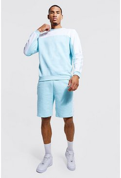 Bright blue Tall Man Tape Colour Block Short Tracksuit