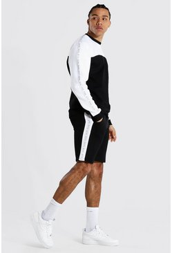 Tall Man Tape Colour Block Short Tracksuit, Black