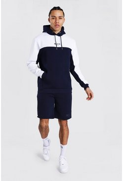 Tall - Ensemble de survêtement color block avec short - MAN, Navy