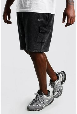 Black Big And Tall MAN Acid Cargo Jersey Shorts