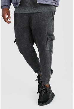 Black Big And Tall Skinny Fit Acid Wash Cargo Jogger