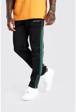 Black MAN Official Wide Leg Jogger With Side Tape