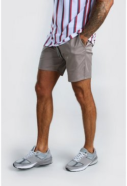 Grey Elastic Waistband Slim Fit Mid Length Chino Short