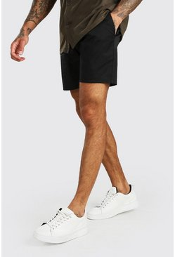 Slim-Fit Chino-Shorts, Schwarz