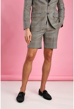 Taupe Skinny Dogtooth Check Shorts