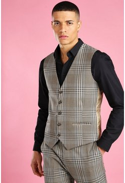 Taupe Skinny Dogtooth Check Vest