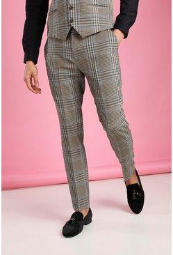 Taupe Skinny Dogtooth Check Pants