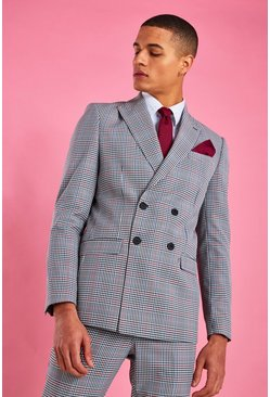 Black Skinny Double Breasted Dogtooth Check Blazer