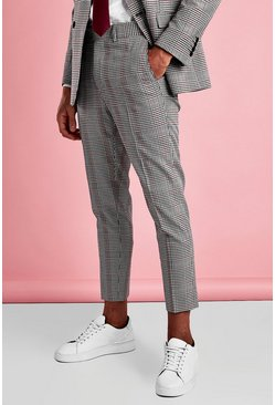 Black Skinny Cropped Dogtooth Check Pants