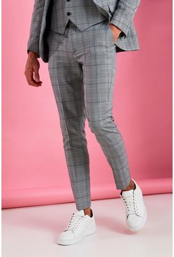 Grey Super Skinny Prince Of Wales Check Pants