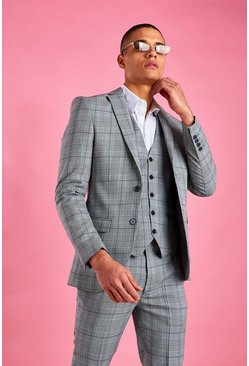 Grey Super Skinny Prince Of Wales Check Blazer