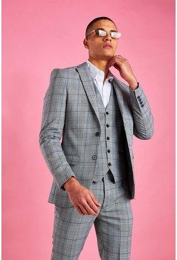 Grey Super Skinny Prince Of Wales Check Blazer