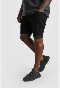 Black Big And Tall Skinny Fit Jean Shorts
