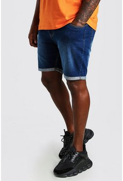 Mid blue Plus Size Skinny Fit Denim Shorts