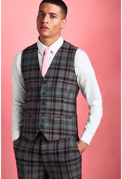 Black Skinny Contrast Check Vest