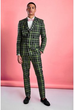 Green Skinny Bright Plaid Check Pants