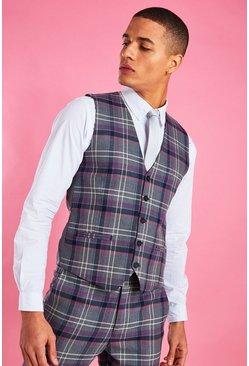 Grey Skinny Purple Check Vest