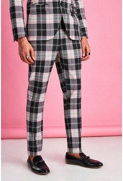 Pantalon à carreaux tartan skinny, Black