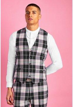 Black Super Skinny Plaid Check Vest