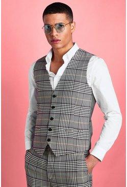 Stone Skinny Dogtooth Check Vest